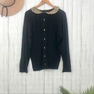 torrid | Black Sweater with Leopard Trim